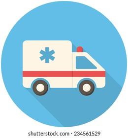 Ambulance car, modern flat icon with long shadow