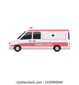 Ambulance car side view - flat cartoon vector illustration isolated on white background. White and red emergency vehicle with siren and red cross symbol.