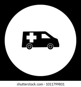 ambulance car transport simple black and green icon eps10
