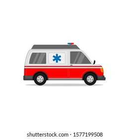 Ambulance car vector design for emergencies and medical services against a white background