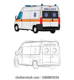 the ambulance car vector drawing illustration