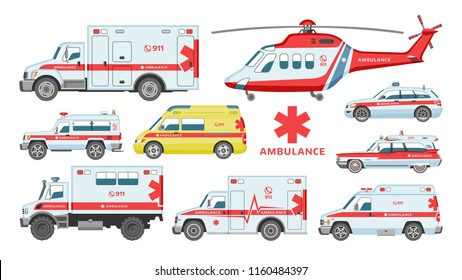 Ambulance car vector emergency ambulance-service vehicle or van and medical care transport in hospital illustration set of aid service transportation 911 helicopter isolated on white background