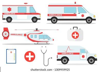 Ambulance car vector emergency ambulance-service vehicle or van and medical care transport in hospital illustration. Medical concept. Detailed illustration of ambulance cars and helicopter in flat sty