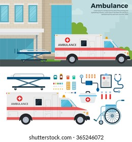 Ambulance car vector flat illustrations. First aid car standing near the hospital. Healthcare concept. Doctor equipment, pills,  wheelchair and car isolated on white background