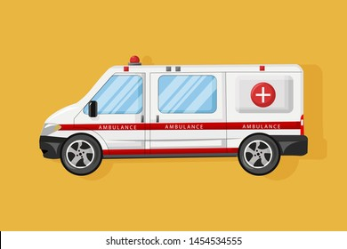 Ambulance car Vector flat style. Emergency medical service vehicle. Hospital transport