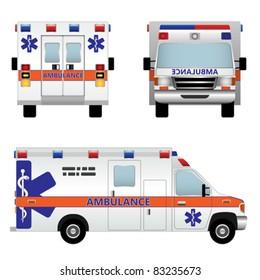 Ambulance car. Vector illustration isolated on white background