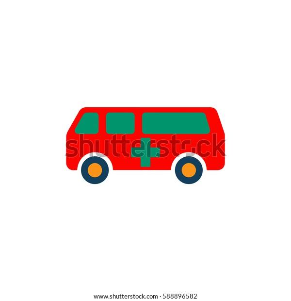 Ambulance. Color symbol icon on white background. Vector illustration