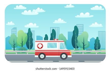 Ambulance driving on the road to the hospital. Background of city and trees landscape. Medical concept flat design. Vector illustration.