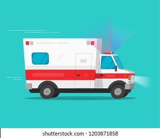 Ambulance emergency car or automobile moving fast vector illustration, flat cartoon comic medical vehicle auto with flasher light or siren isolated