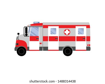 ambulance and emergency car. Colorful design, isolated vector illustration