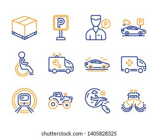 Ambulance emergency, Disabled and Car service icons simple set. Search flight, Valet servant and Parking signs. Car, Delivery box and Parking security symbols. Metro subway, Tractor and Ship. Vector