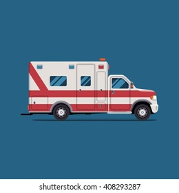 Ambulance emergency paramedic car. Vector modern creative flat design. First aid transportation. Isolate on white background.