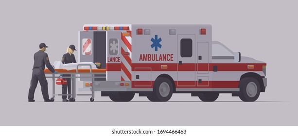 Ambulance emergency paramedic carrying patient on stretcher. Isolated illustration. Colection