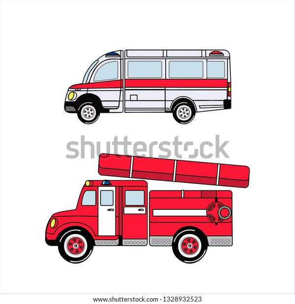Ambulance Fire Truck Cars Kids Toys Stock Vector Royalty