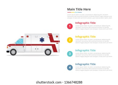 ambulance healthcare infographics template with 4 points of free space text description - vector illustration