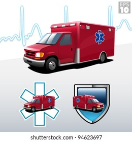 Ambulance with heart beat background, protection and EMT paramedic symbols