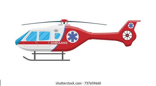 Ambulance helicopter. Red medical evacuation helicopter. Healthcare, hospital and medical diagnostics. Urgency and emergency services. Vector illustration in flat style