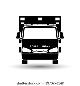 Ambulance  icon front view. Black on White Background With Shadow. Vector Illustration.