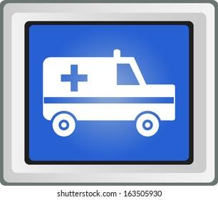 Ambulance icon glossy blue