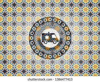 ambulance icon inside arabesque style emblem. arabic decoration.