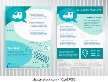 Ambulance icon on vector Brochure. Flyer design. Layout template, size A4.