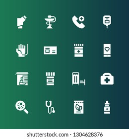 ambulance icon set. Collection of 16 filled ambulance icons included Medicine, Phonendoscope, Disease, Healthcare, Medical room, Stool test, Medical app, Blood donation, Saline