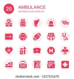 ambulance icon set. Collection of 20 filled ambulance icons included Nurse, Medicine, Inhalator, Siren, Ambulance, Emergency, Bandage, Defibrillator, Phonendoscope, Hospital, lights
