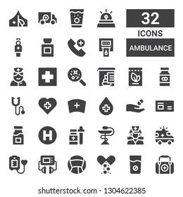 ambulance icon set. Collection of 32 filled ambulance icons included First aid, Medicine, Defibrillator, Blood donation, Ambulance, Nurse, Hospital, Phonendoscope, Stool test