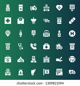 ambulance icon set. Collection of 36 filled ambulance icons included Red cross, Medicine, Hospital, Inhalator, Siren, Nurse, First aid, Ambulance, Healthcare, Emergency call, Phonendoscope