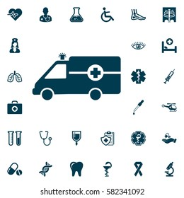 Ambulance Icon vector, medical set on white background. Health Care Vector illustration