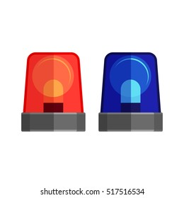 Ambulance lights isolated on white. Flashing warning lights and sirens. Blue and red police beacon. Ambulance flasher icons for alarm or emergency cases. Alert flashing lights in a flat style. Vector