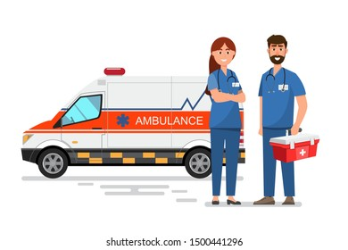 ambulance medical service carrying patient with doctor and nurse staff.flat style vector illustration