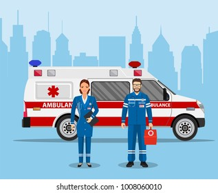 ambulance medical service first aid concept. doctor nurse ambulance car. Vector illustration in flat style