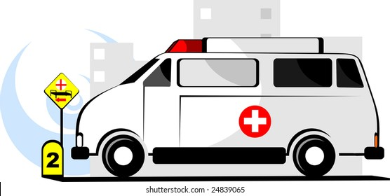 ambulance and mile stone