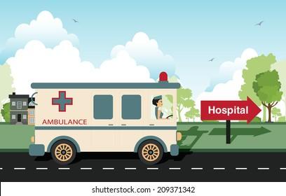Ambulance with a nurse as a driver.
