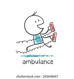 ambulance rushes with cardio machine illustration