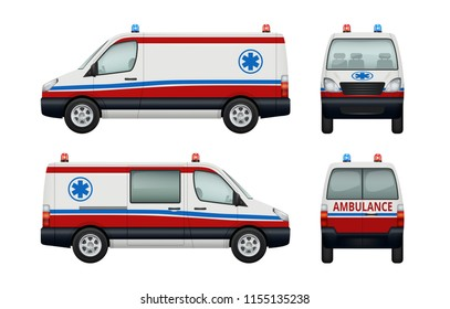 Ambulance service cars. Various views of ambulance. Vector car ambulance, vehicle transport emergency illustration