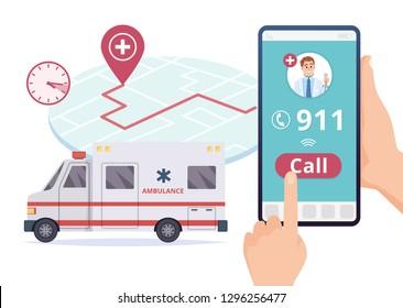 Ambulance service. Urgent 911 hospital emergency call vector concept