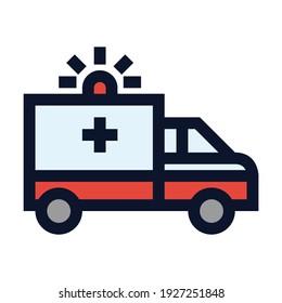 Ambulance. Simple Vector Color Icon.