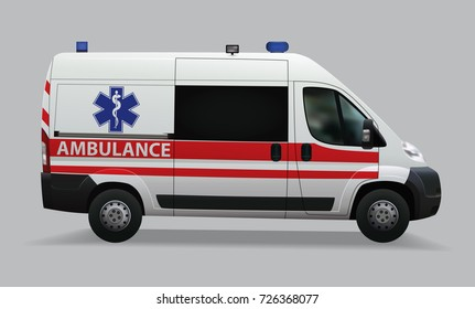 Ambulance. Special medical vehicles. Realistic image. Vector illustration.