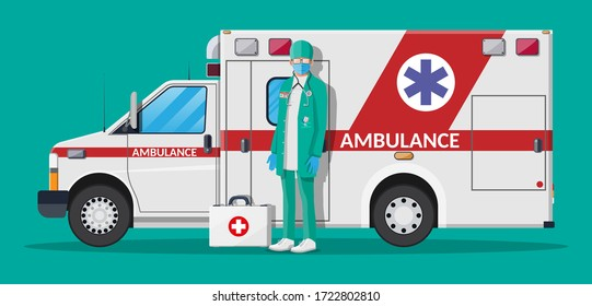 Ambulance staff concept. Doctor in white coat with stethoscope and case. Ambulance car, emergency vehicle. Flat vector illustration
