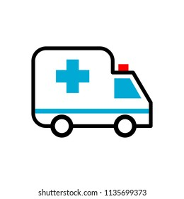Ambulance symbol vector, Simple and flat design, minimalist style, white, blue, red and black color.