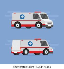 Ambulance van for an emergency medical service, flat vector illustration