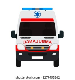 Ambulance van flat vector front view. Help emergency auto red transportation rescue