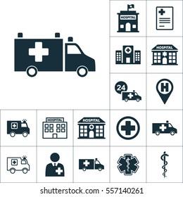 ambulance van icon, medical set on white background