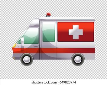 Ambulance van on transparent background illustration
