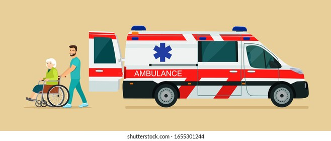 Ambulance van, side view. Nurse strolling with elder grey haired woman in wheelchair. Vector flat style illustration.