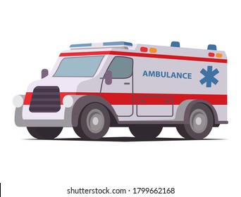 Ambulance van.First aid car.Emergency car. Isolated medical template on white background.Medicine vehicle.Vector modern flat style.