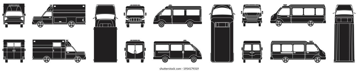 Ambulance vector illustration on white background. Isolated black set icon car of emergency. Vector black set icon ambulance.