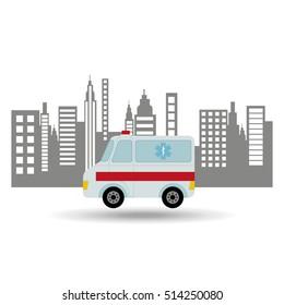 ambulance vehicle city background design vector illustration eps 10